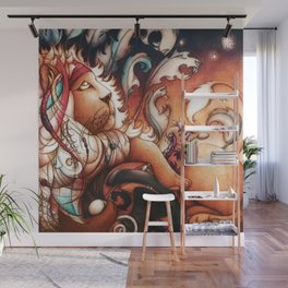 Hippy Lion Wall Mural