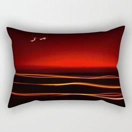 Night Lights Moon and Three Autos Rectangular Pillow