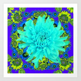 AQUA Spider Mum FLOWER GARDEN  PURPLE-LIME FLOWER GARDEN Art Print