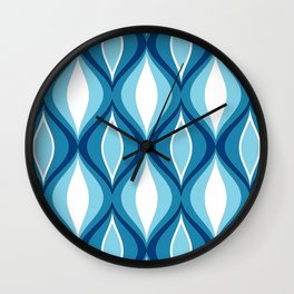 Mid-Century Modern Diamonds, Denim Blues Wall Clock