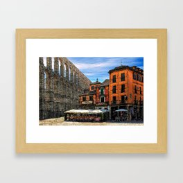 Roman Aqueduct in the Middle of a City Framed Art Print