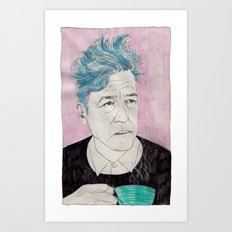 David Lynch drinking coffee. Art Print