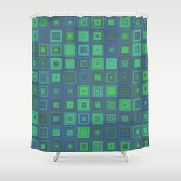 Green Abstract Square Pattern Shower Curtain