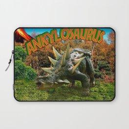 Ankylosaurus Dinosaur Park Vegetation and  Volcano Laptop Sleeve
