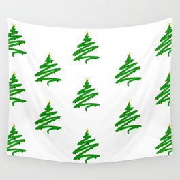 Minimalist Green Christmas Tree and Ornaments Doodle Pattern Wall Tapestry