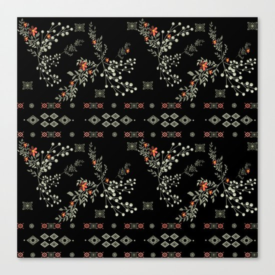 Seamless abstract floral pattern on black background Canvas Print