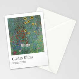 Gustav Klimt - Exhibition Art Poster - Cottage Garden With Sunflowers - Belvedere Museum Stationery Cards