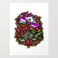 sneakers Art Prints featuring Sneakers by DerickJames