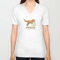 trex V-neck T-shirts featuring problem solved... trex with arms.. by studiomarshallarts