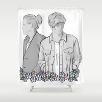larry stylinson Shower Curtains featuring Larry Stylinson - black and white by Feds