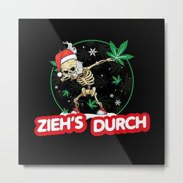 Ho Ho Ho Christmas Weed Joint Smoking Funny Metal Print