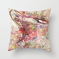 portland Throw Pillows featuring Portland by MapMapMaps.Watercolors