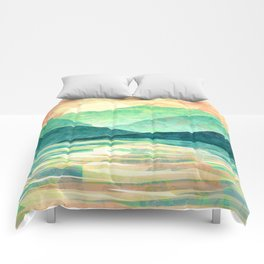 Spring Sunset over Emerald Mountain Landscape Painting Comforters