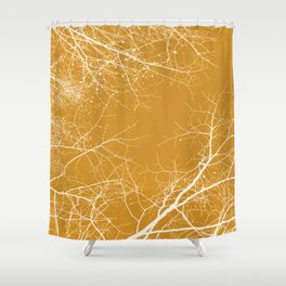 Branches Impressions on Yellow Shower Curtain