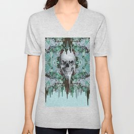 Seeing Color, melting floral skull in mint Unisex V-Neck