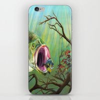 clueless iPhone & iPod Skins featuring Large Mouth Bass and Clueless Blue Gill Fish by Sonya ann