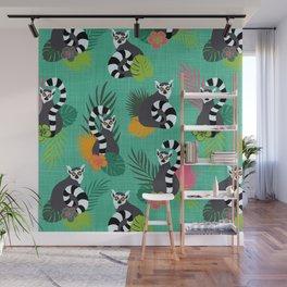 Tropical Lemurs Aquamarine Wall Mural