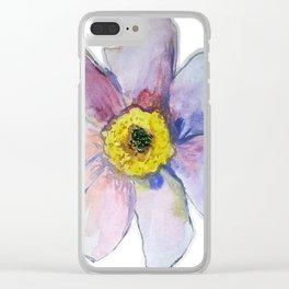 Purple Watercolor Flower Clear iPhone Case