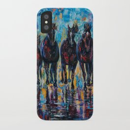 Free Roaming Wild Horses  Painting with a Palette Knife by OLena Art  iPhone Case