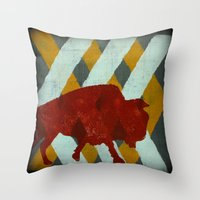 buffalo Throw Pillows featuring Buffalo by Wood Grian & Grits