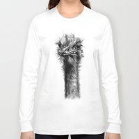 ostrich Long Sleeve T-shirts featuring Ostrich  by Jane Moore Art