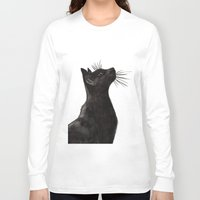 black cat Long Sleeve T-shirts featuring Black Cat by Cedric S Touati