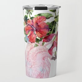Human heart with flowers, plant and leaf, watercolor Travel Mug