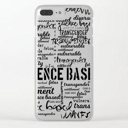 Double Plus Good Banned Words in Black and White Clear iPhone Case