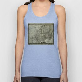 Map of the Midwest United States (c 1840) Unisex Tank Top