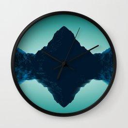 Phenomenal Wonderful Turquoise Hill Side Mirroring Lake Surface UHD Wall Clock