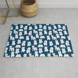 Westies on Blue Rug
