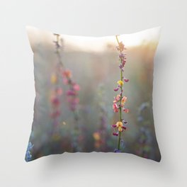 Wildflowers at Sunse Throw Pillow