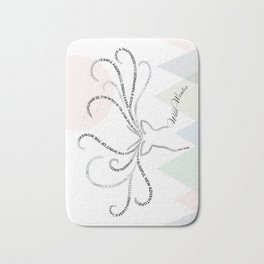 Abstrac Typographic Reindeer in The Mountains Bath Mat