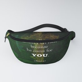 1 Peter 5:7 Uplifting Bible Verses Quote Fanny Pack