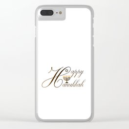 Happy Hanukkah- Jewish holiday celebration with star of David Clear iPhone Case