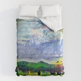 From Sunriver: Mt. Bachelor (Salt Watercolor) Comforters