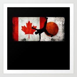Breakdancing Men Canada Flag Tokyo 2021 Japan Flag Art Print