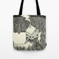 house Tote Bags featuring 'The Middle Of Nowhere'  by Alex G Griffiths