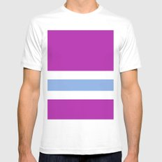 Purple, White, and blue MEDIUM White Mens Fitted Tee