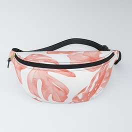 Tropical Hibiscus and Palm Leaves Dark Coral White Fanny Pack