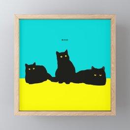 Three Cats Framed Mini Art Print