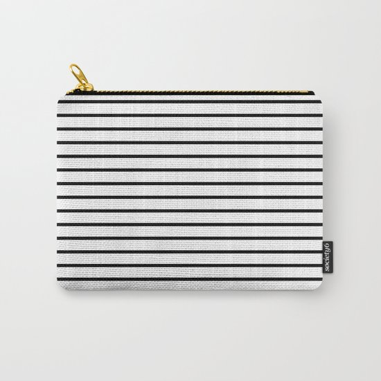 Horizontal Lines (Black/White) Carry-All Pouch