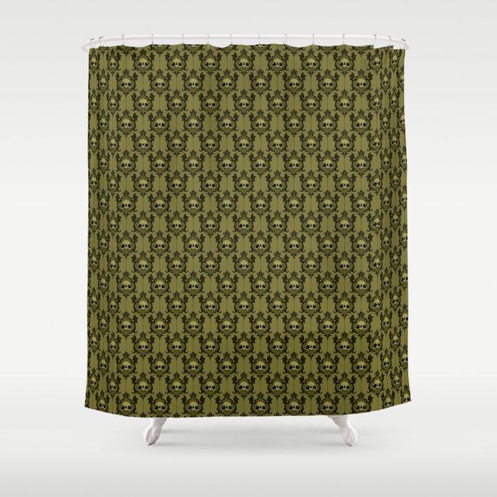 Halloween Damask Olive Shower Curtain By Abigaillarson