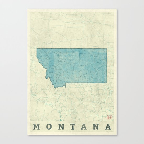 Montana State Map Blue Vintage Canvas Print