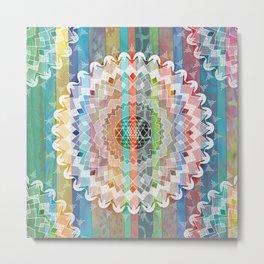 Boho Stripe Mandala Metal Print