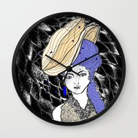 hats Wall Clocks featuring Hats by Madame Mim