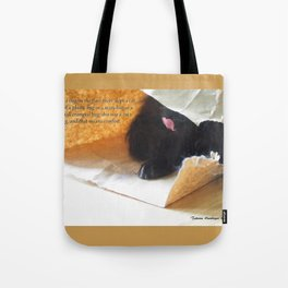 In a bag on the floor there lived a cat, or Black cat in bag Tote Bag