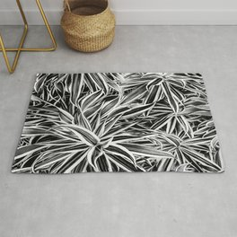 Black and White Tropical Print Rug