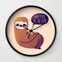 nan lawson Wall Clocks featuring Nap Time All The Time by Nan Lawson