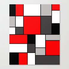 Red Black and Grey squares Canvas Print